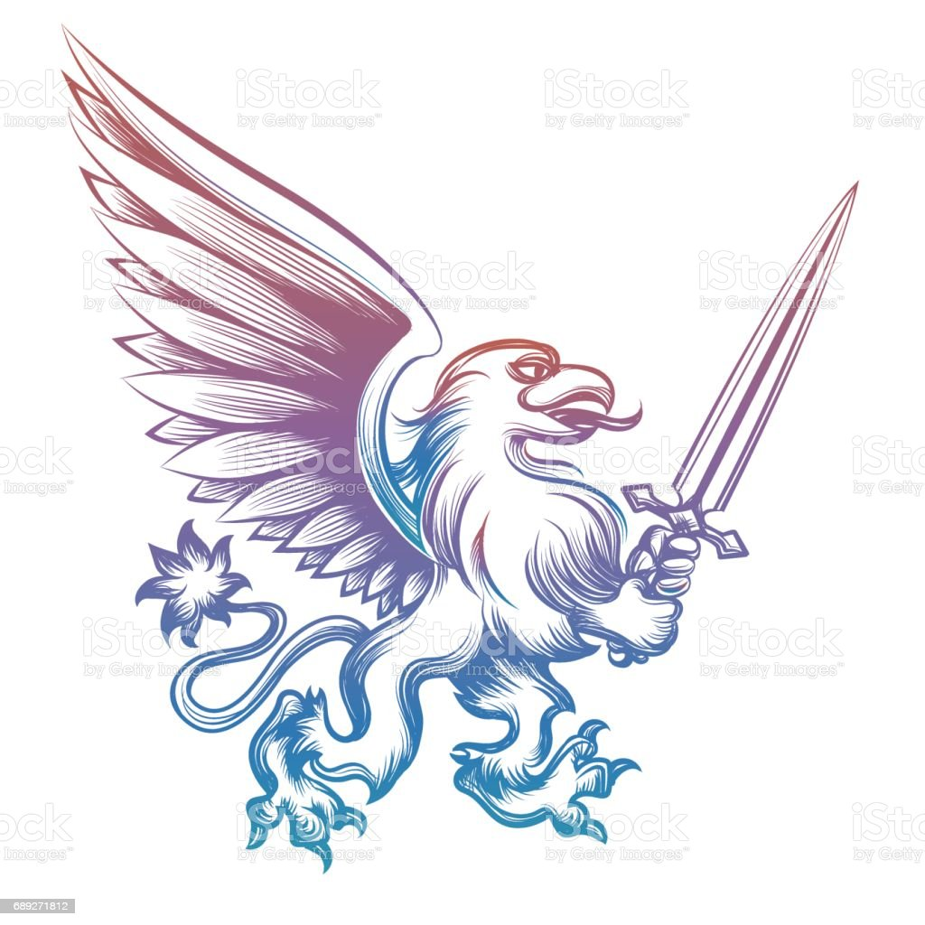 Colorful heraldy griffon with sword vector art illustration