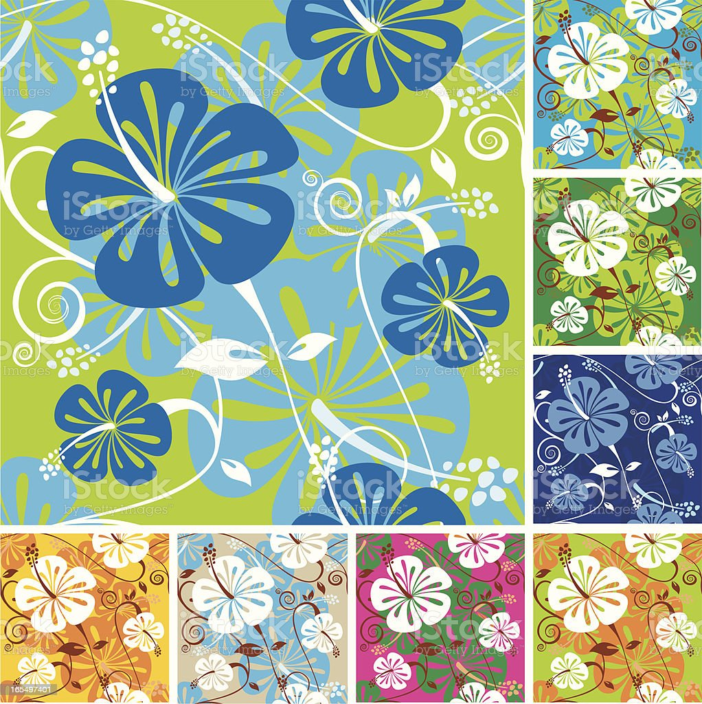 Colorful hibiscus pattern royalty-free stock vector art