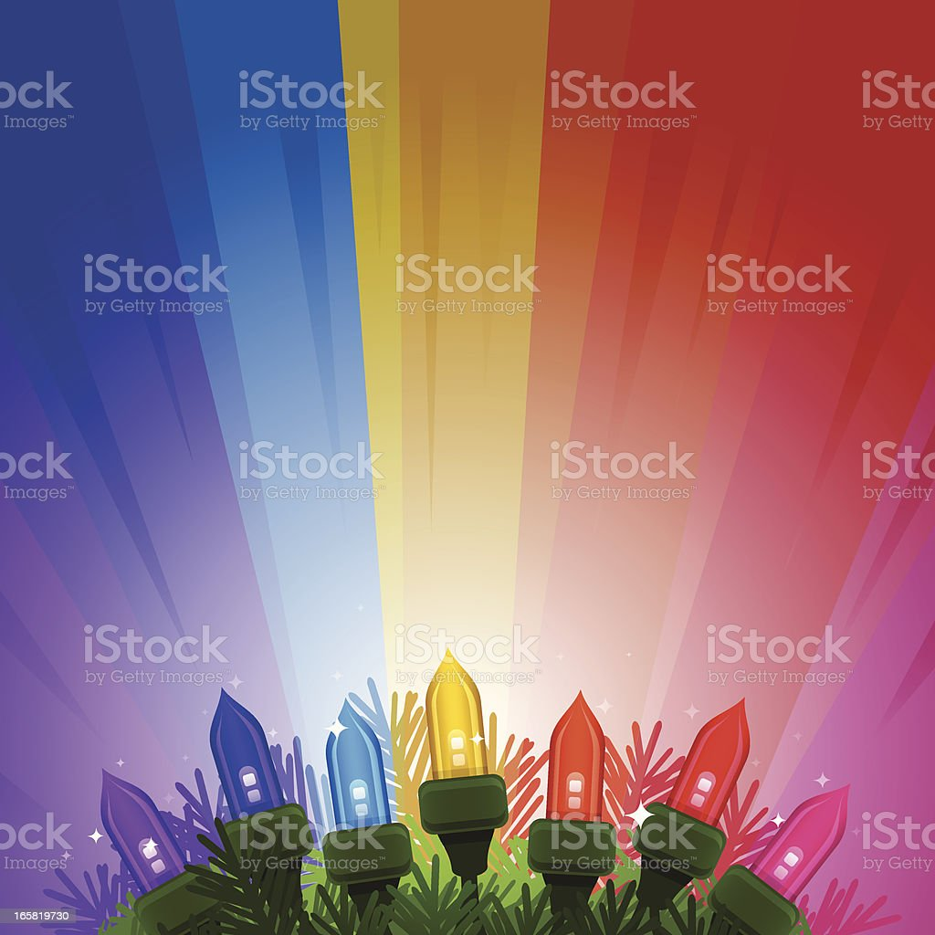 Colorful Holiday Lights vector art illustration