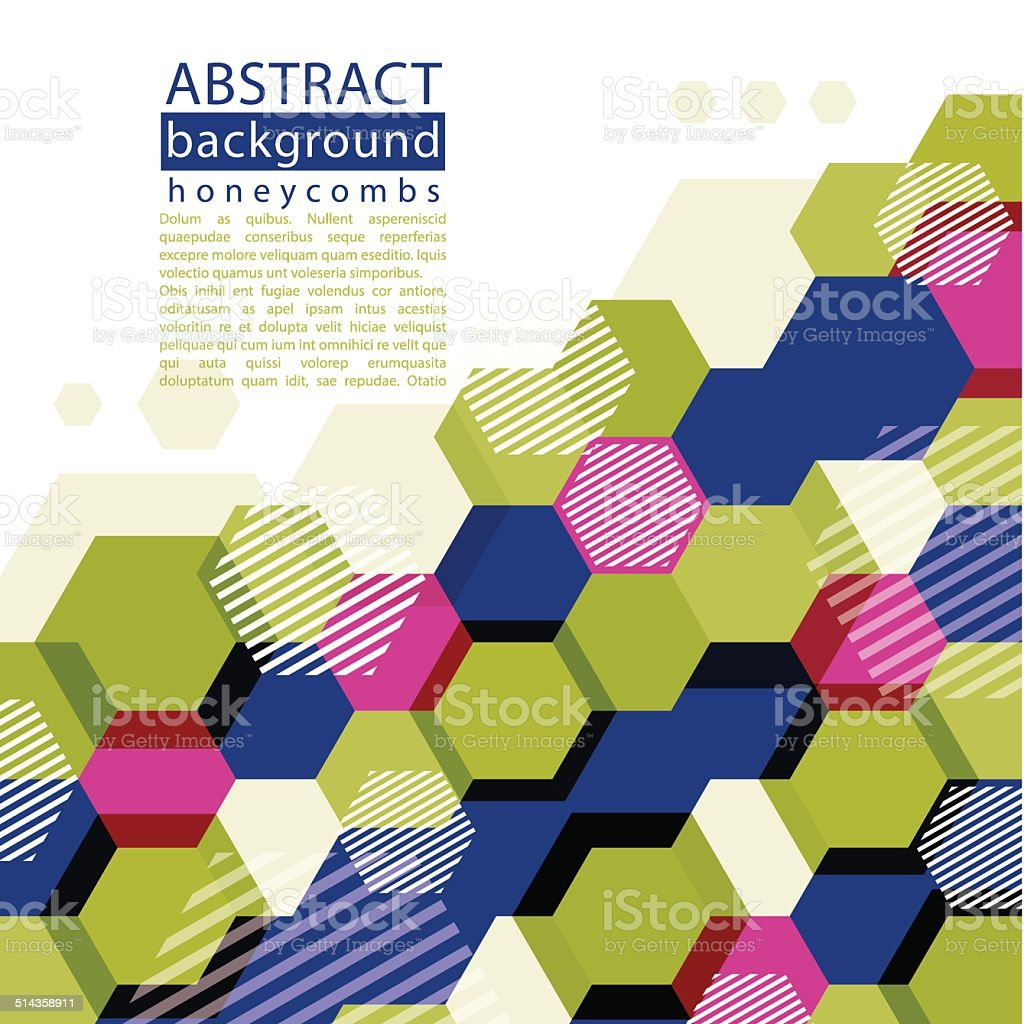 Colorful honeycomb abstract background with caption and text vector art illustration