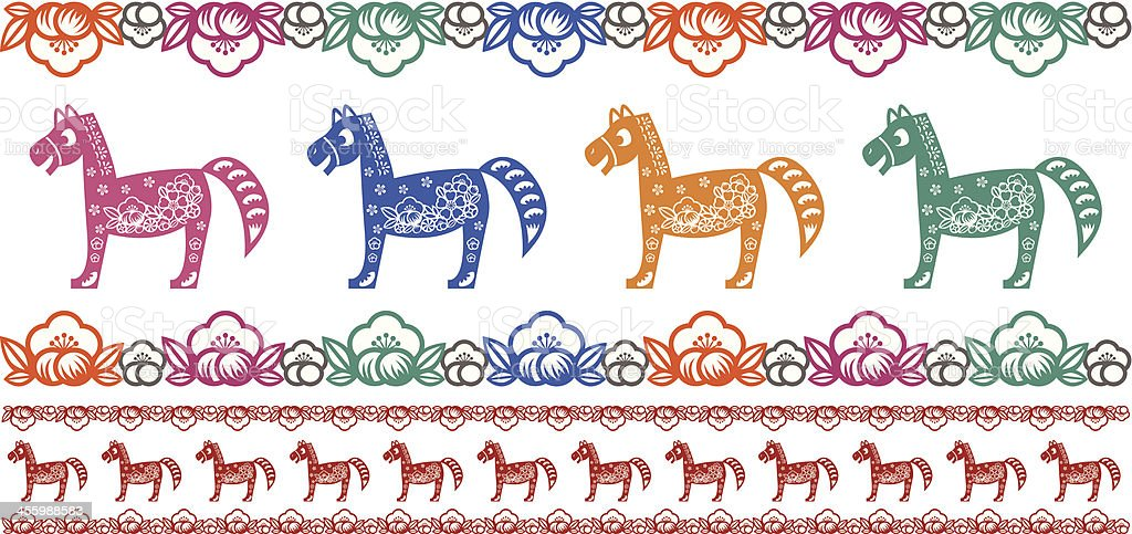colorful horses royalty-free stock vector art
