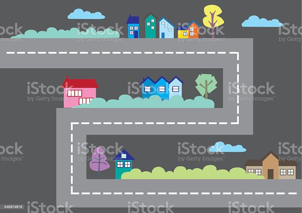 Colorful Houses Along Road Cartoon City Map Vector Illustration vector art illustration