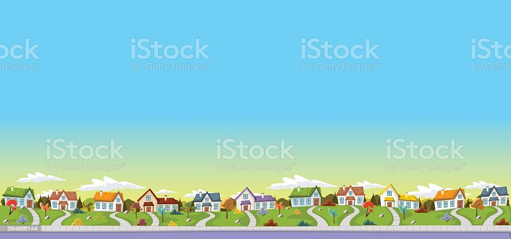 Colorful houses in suburb neighborhood vector art illustration