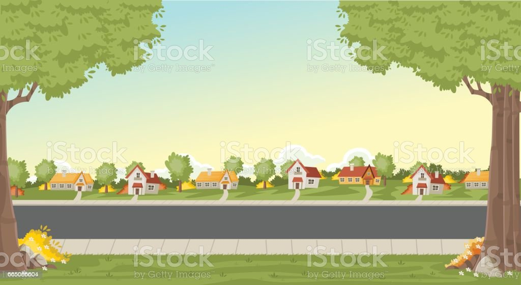 Colorful houses in suburb neighborhood. vector art illustration