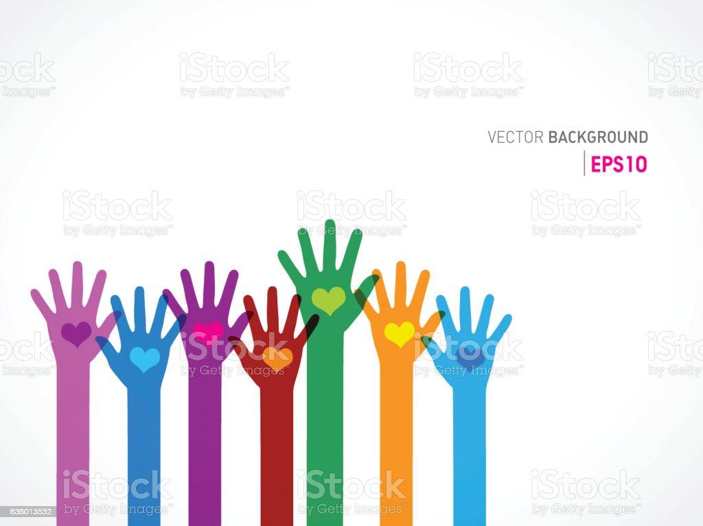 Colorful human hands vector art illustration