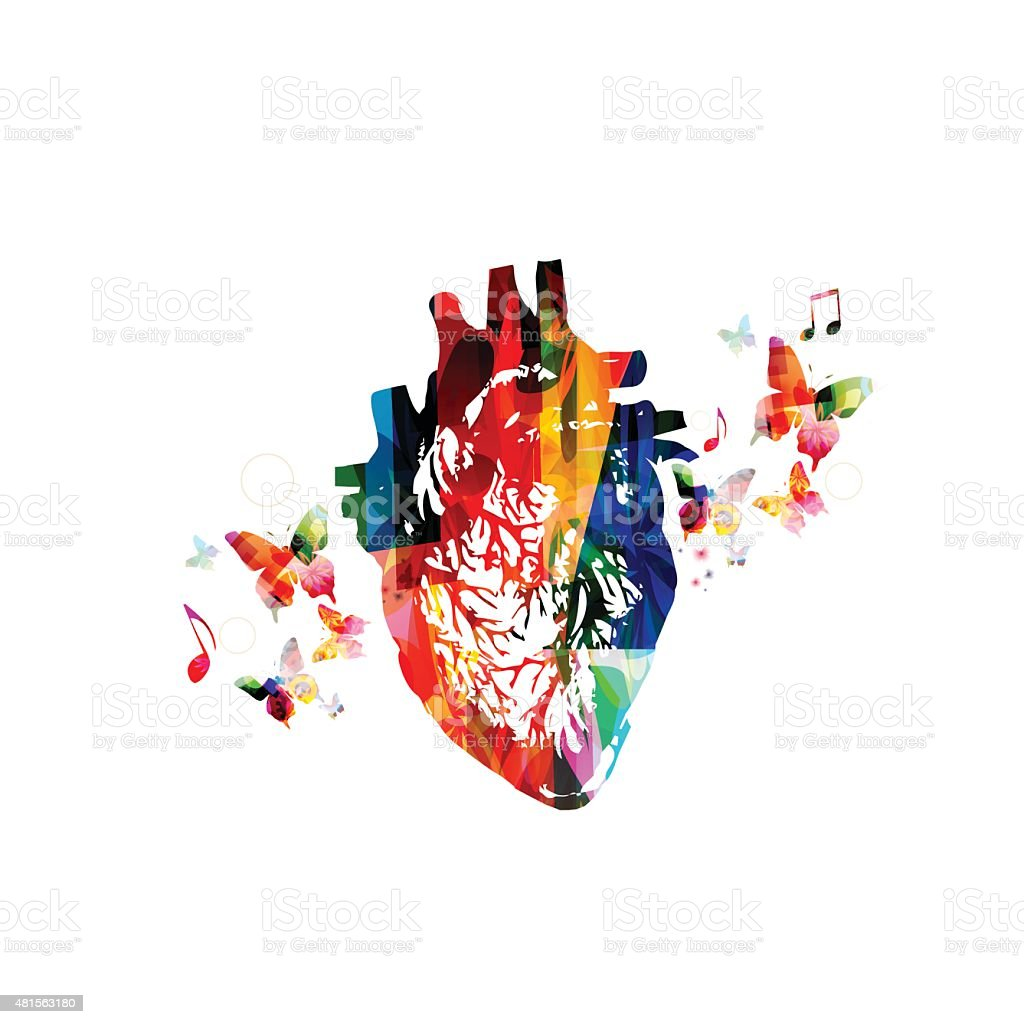Colorful human heart design vector art illustration