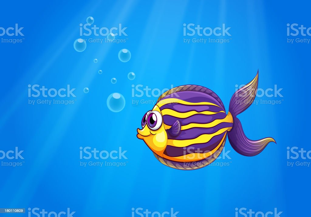 Colorful hungry fish under the sea royalty-free stock vector art