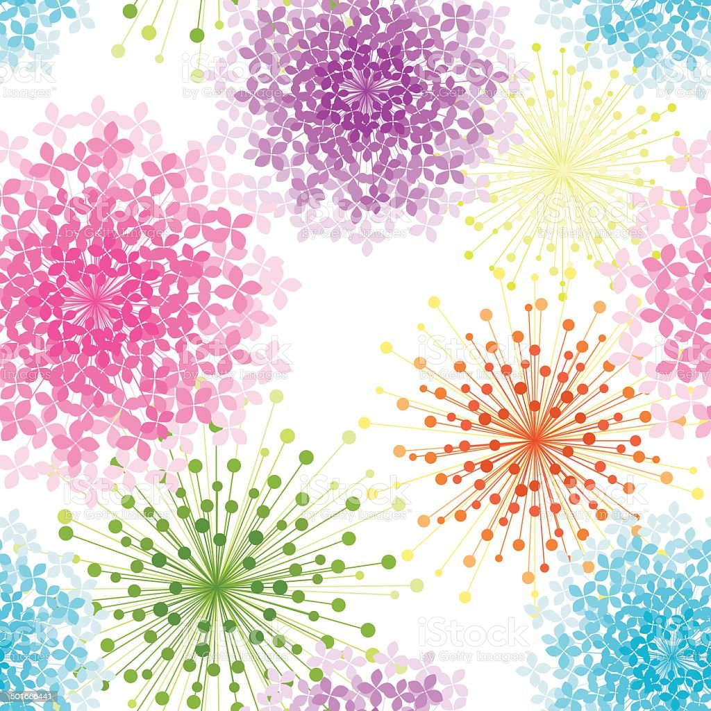 Colorful Hydrangea Flower Seamless Pattern vector art illustration