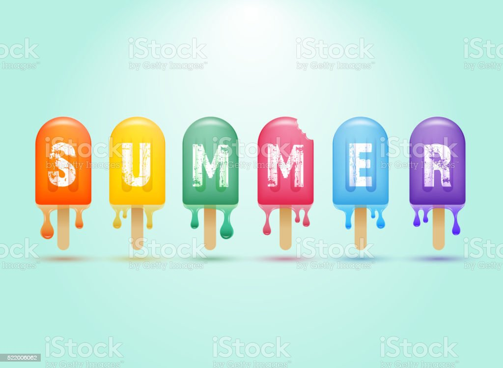 Colorful ice cream bar on a stick vector art illustration