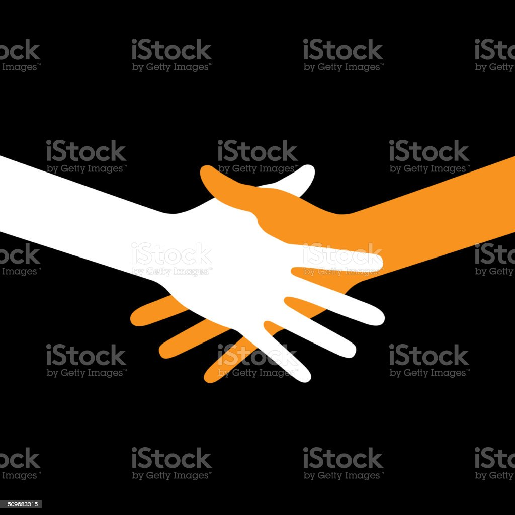 Colorful icon hand shake on black background vector art illustration