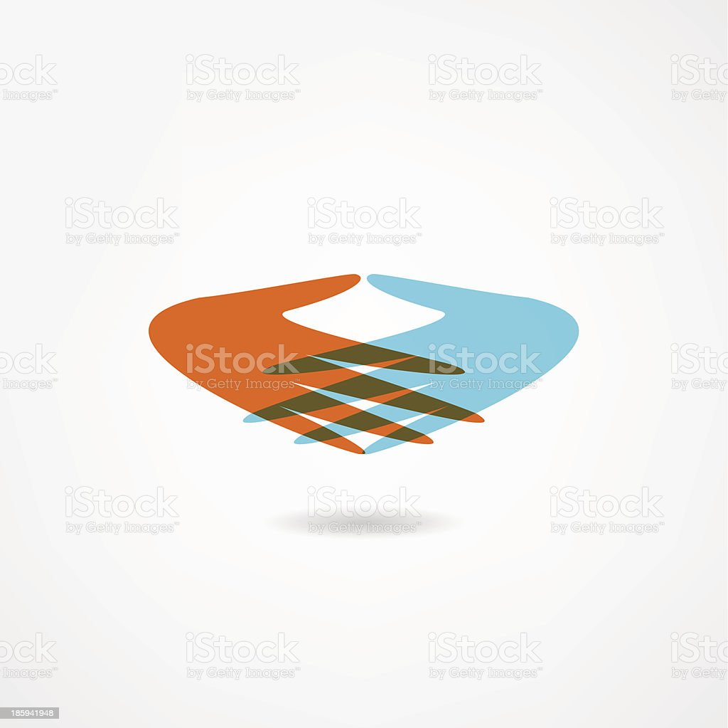 Colorful icon of red and blue hands royalty-free stock vector art