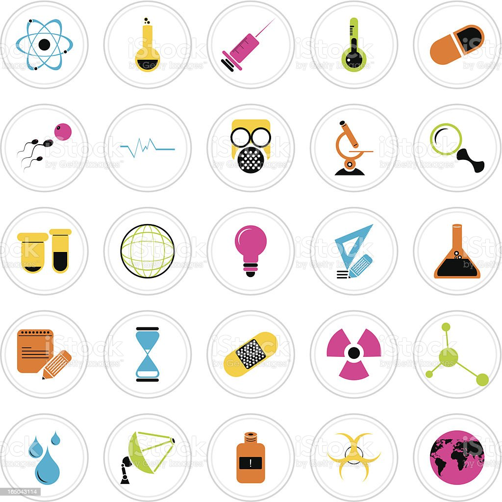 Colorful Icon Set : Science royalty-free stock vector art