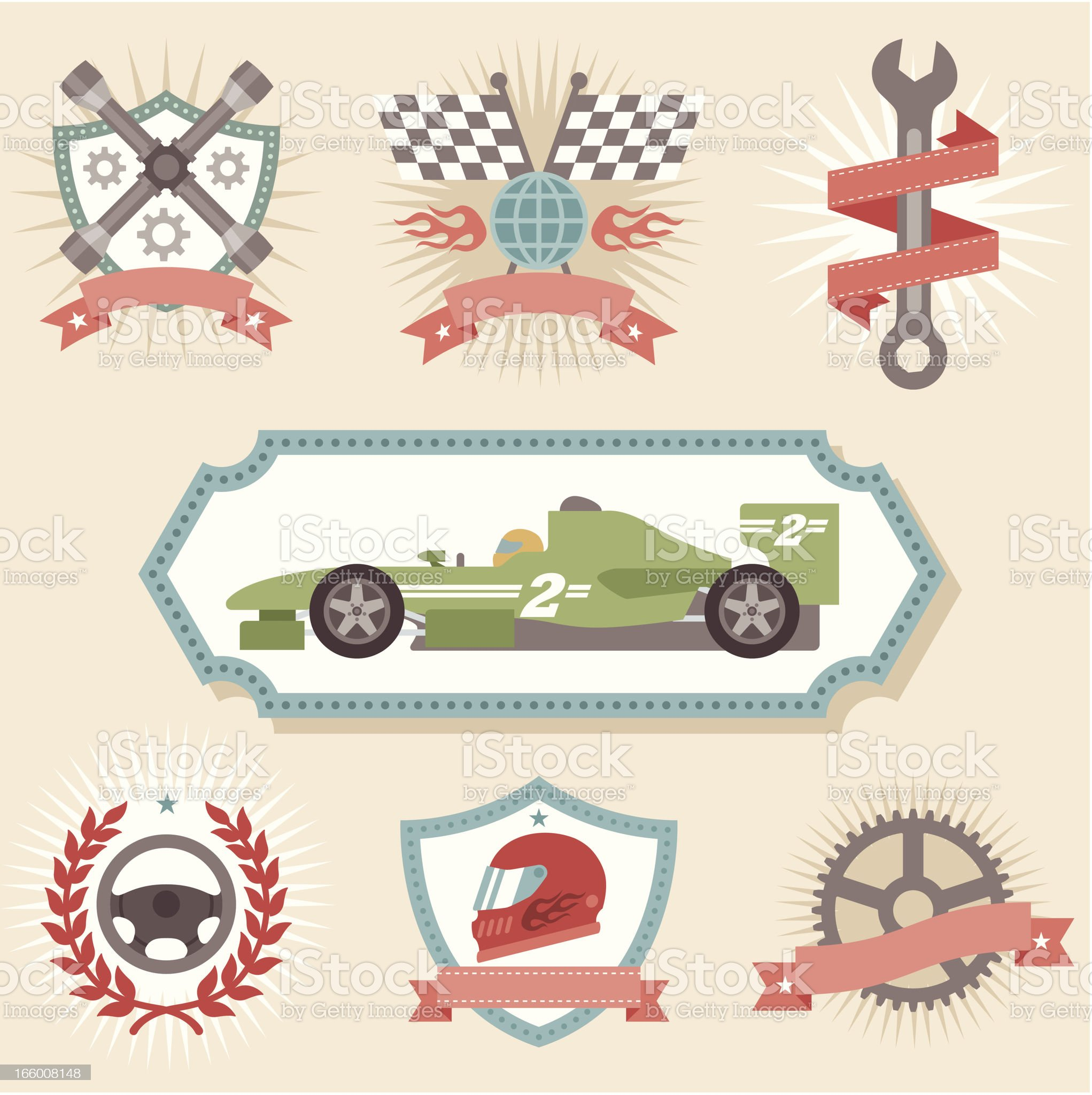 Colorful icon set with cars and mechanics themes royalty-free stock vector art