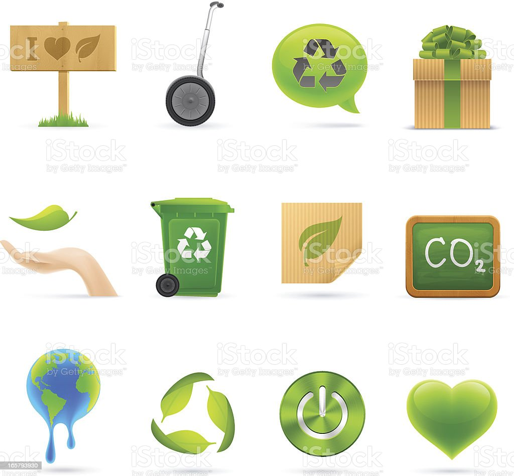 Colorful icons | Green Eco Set vector art illustration