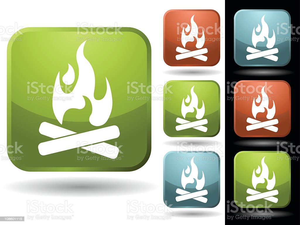Colorful icons of a campfire on a black and white background royalty-free stock vector art