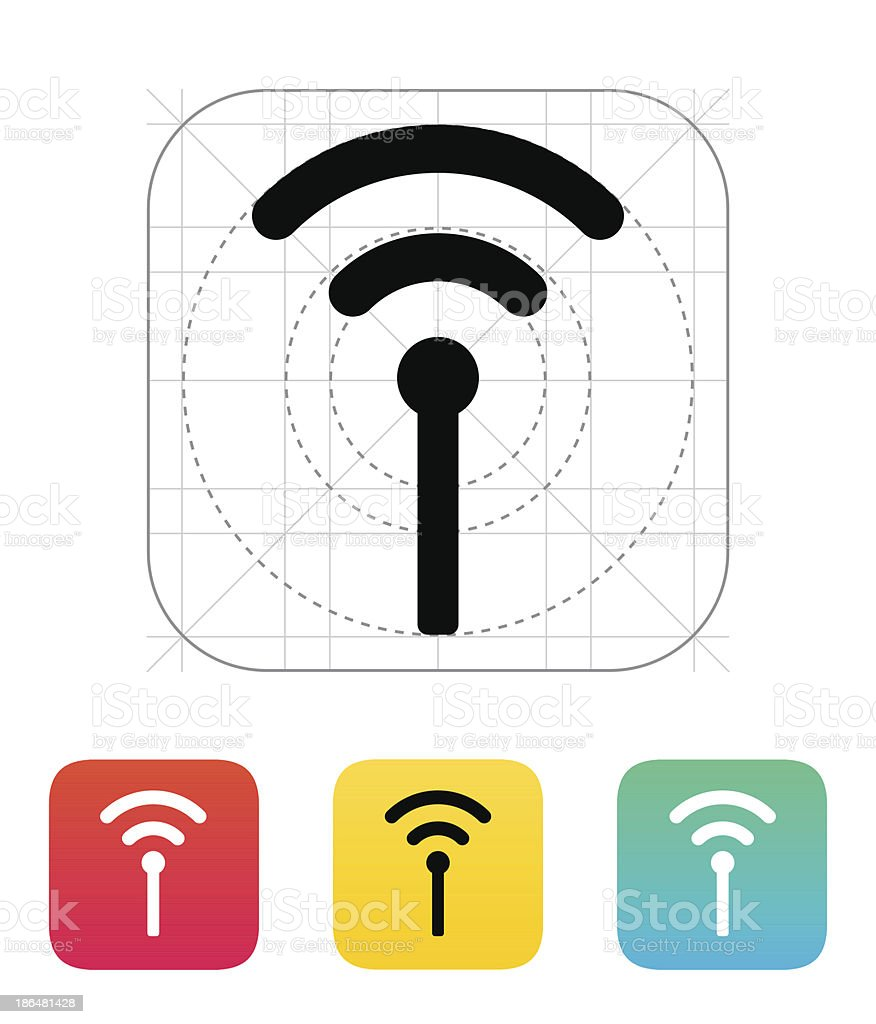 Colorful icons of antenna broadcasting vector art illustration