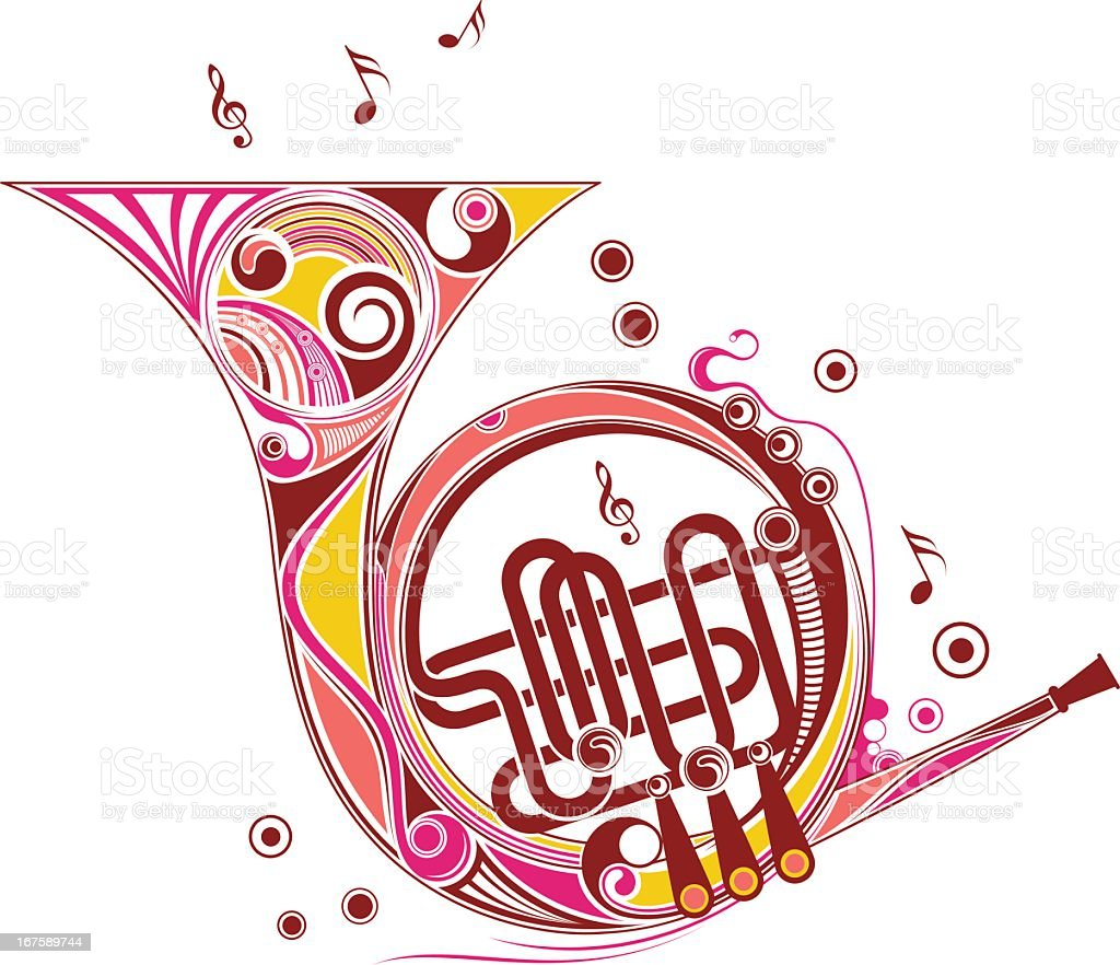 Colorful illustration of a French horn royalty-free stock vector art