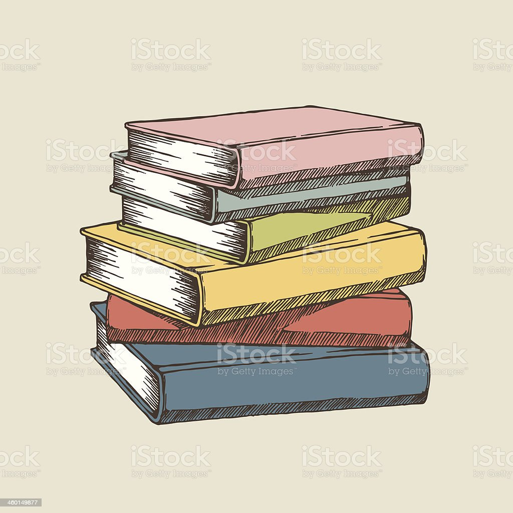A colorful illustration of a stack of books vector art illustration
