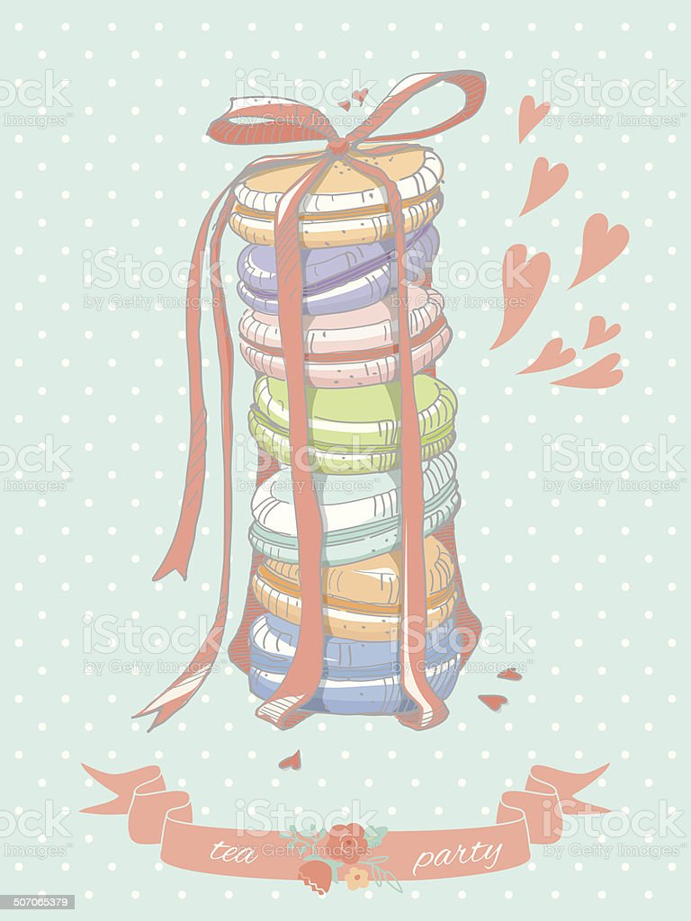 Colorful illustration of a stack of macaroons royalty-free stock vector art
