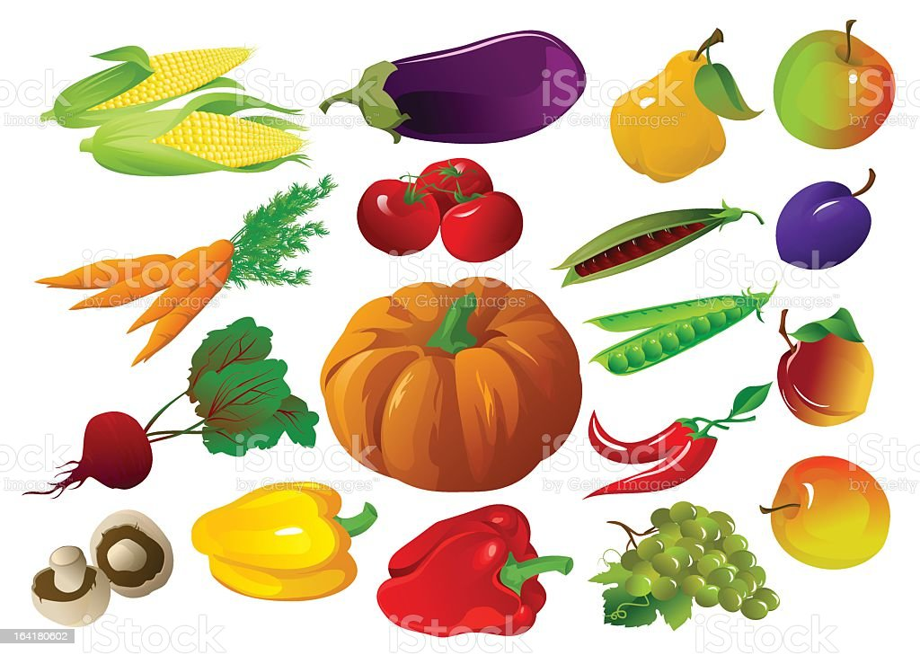 Colorful illustration of a variety of fruits and vegetables royalty-free stock vector art