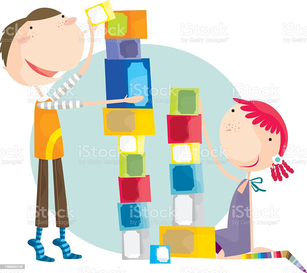 Colorful illustration of boy and girl using building blocks royalty-free stock vector art