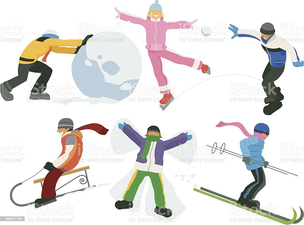 Colorful illustration of children engaged in winter play vector art illustration