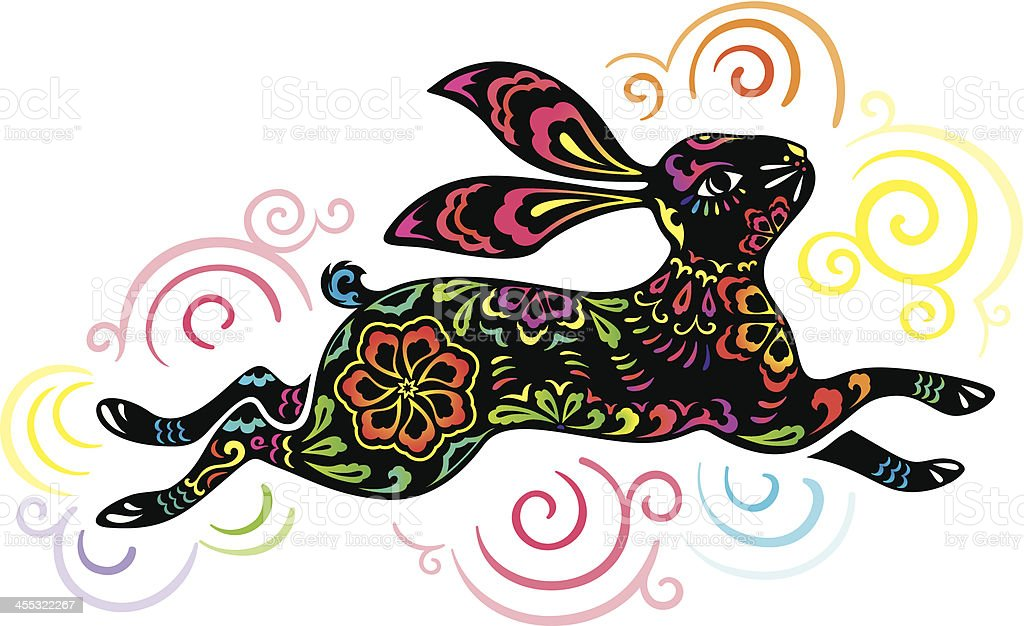 Colorful illustration of jumping rabbit royalty-free stock vector art