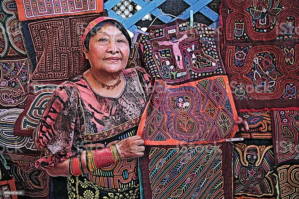 Colorful Illustration of Kuna Artist Selling Her Art and Crafts vector art illustration