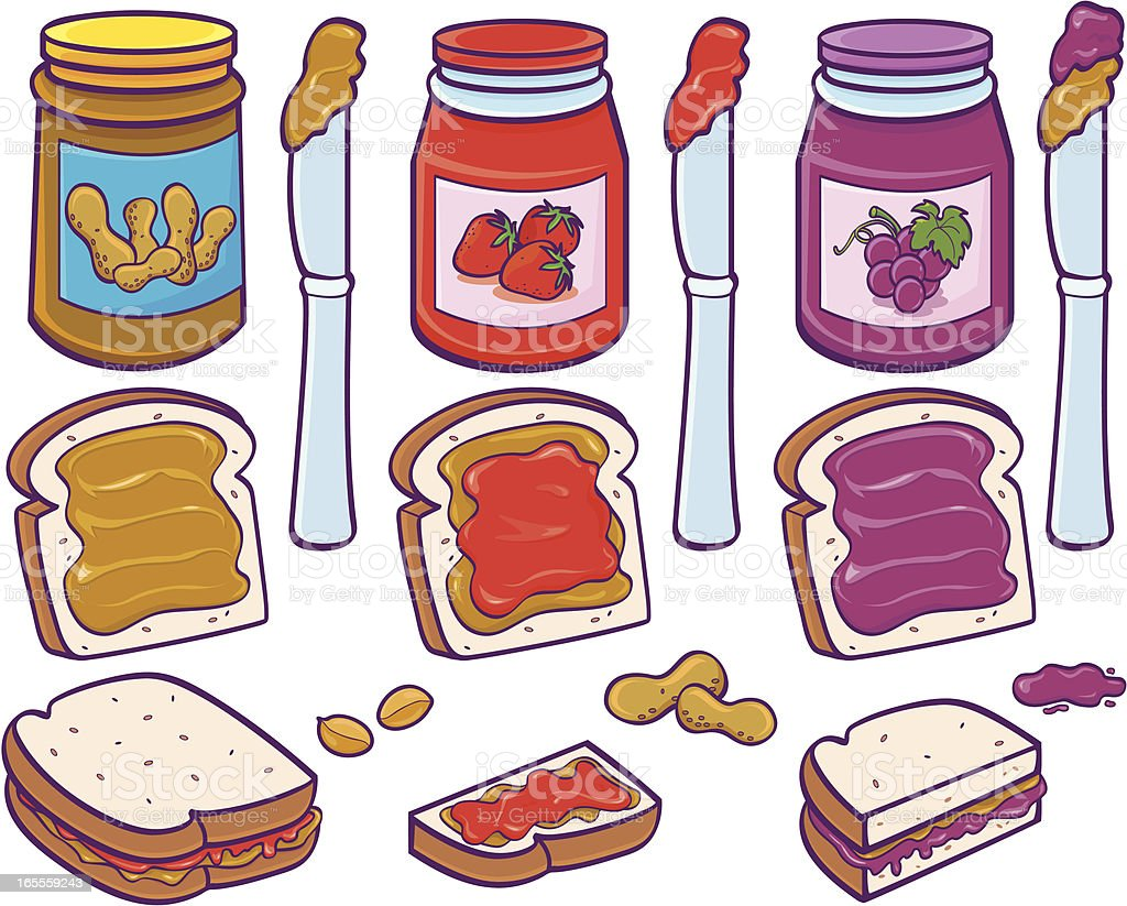 Colorful illustration of peanut butter and jelly sandwiches royalty-free stock vector art