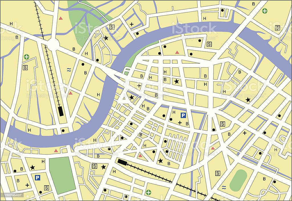 Colorful image of a street map vector art illustration