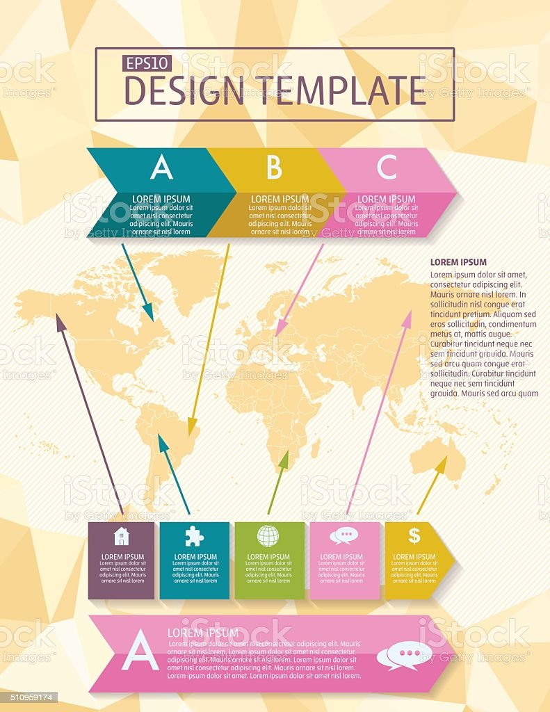 Colorful Infographic Element with Icons and Text - Flyer Template vector art illustration