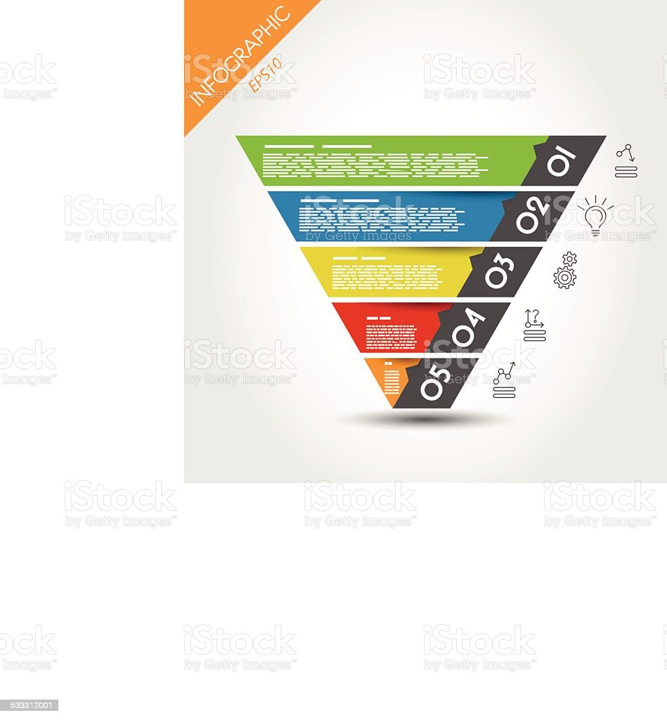 colorful infographic reversed pyramid vector art illustration