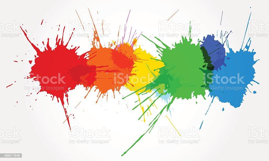Colorful ink splashes. vector art illustration