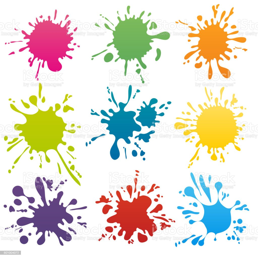 Colorful ink spots set vector vector art illustration