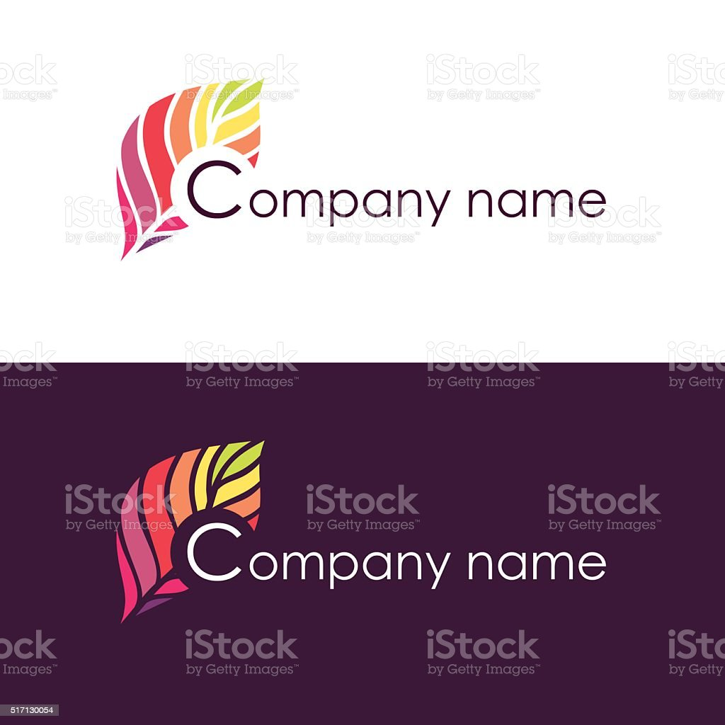 Colorful isolated business icon of tree leaf vector art illustration