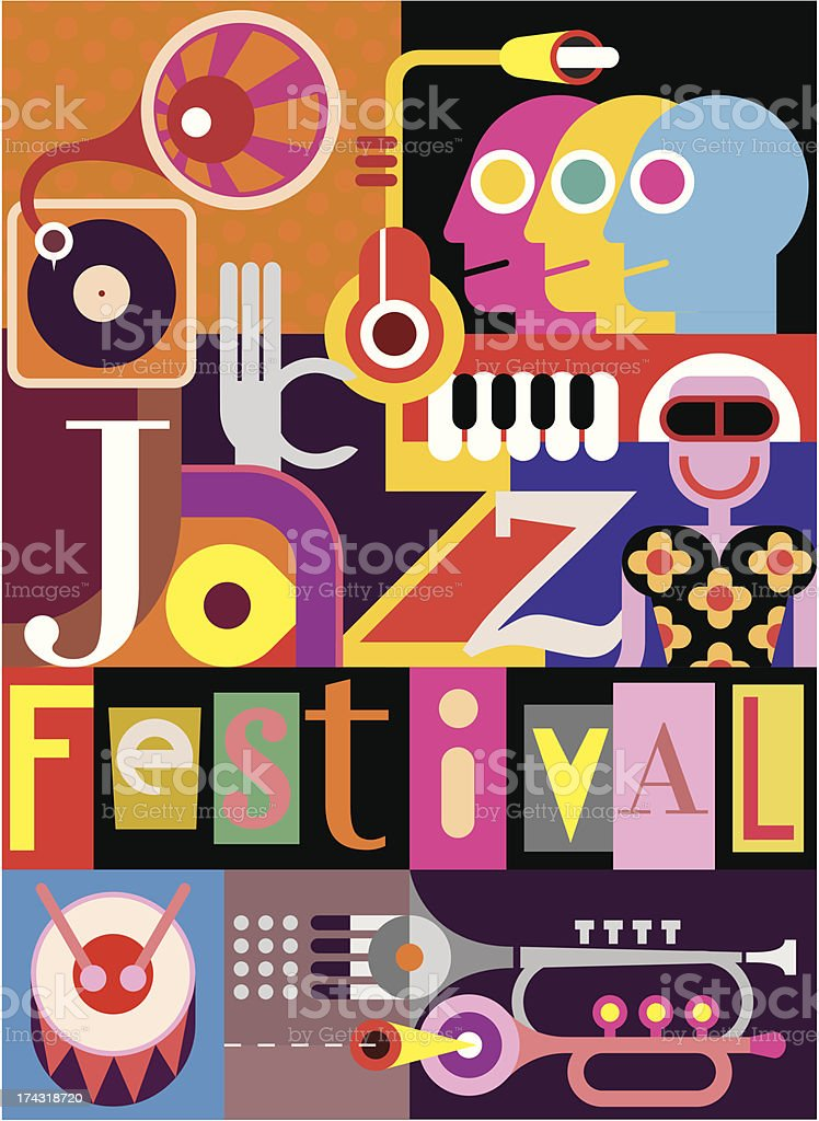 Colorful jazz festival poster with pop art royalty-free stock vector art