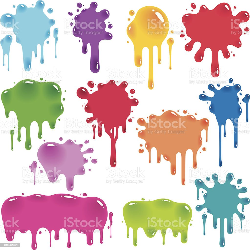 Colorful jelly splatters vector art illustration