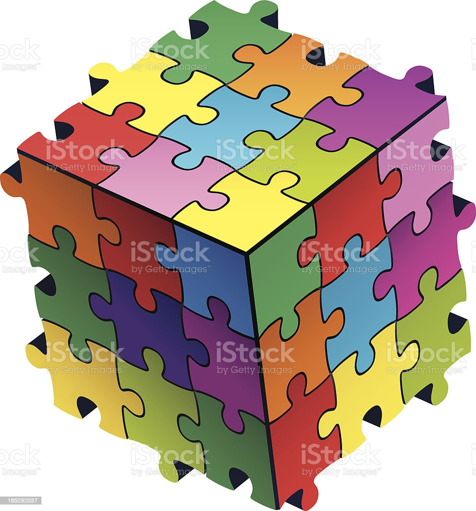 colorful jigsaws cube royalty-free stock vector art