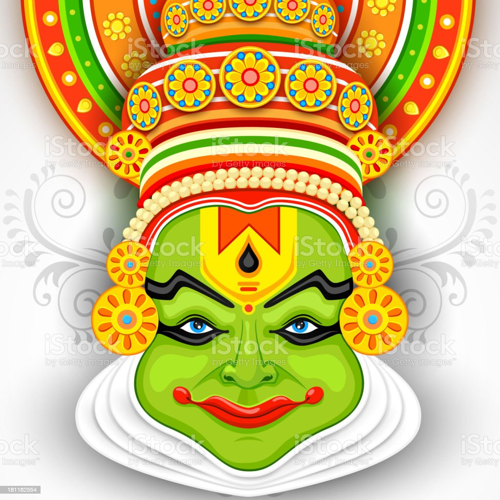 Colorful Kathakali Face royalty-free stock vector art