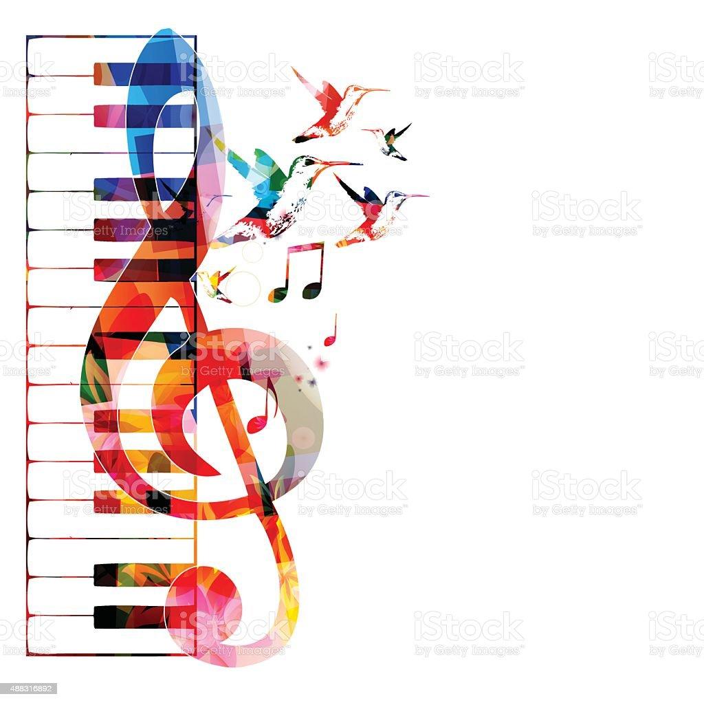 Colorful keyboard design with hummingbirds vector art illustration
