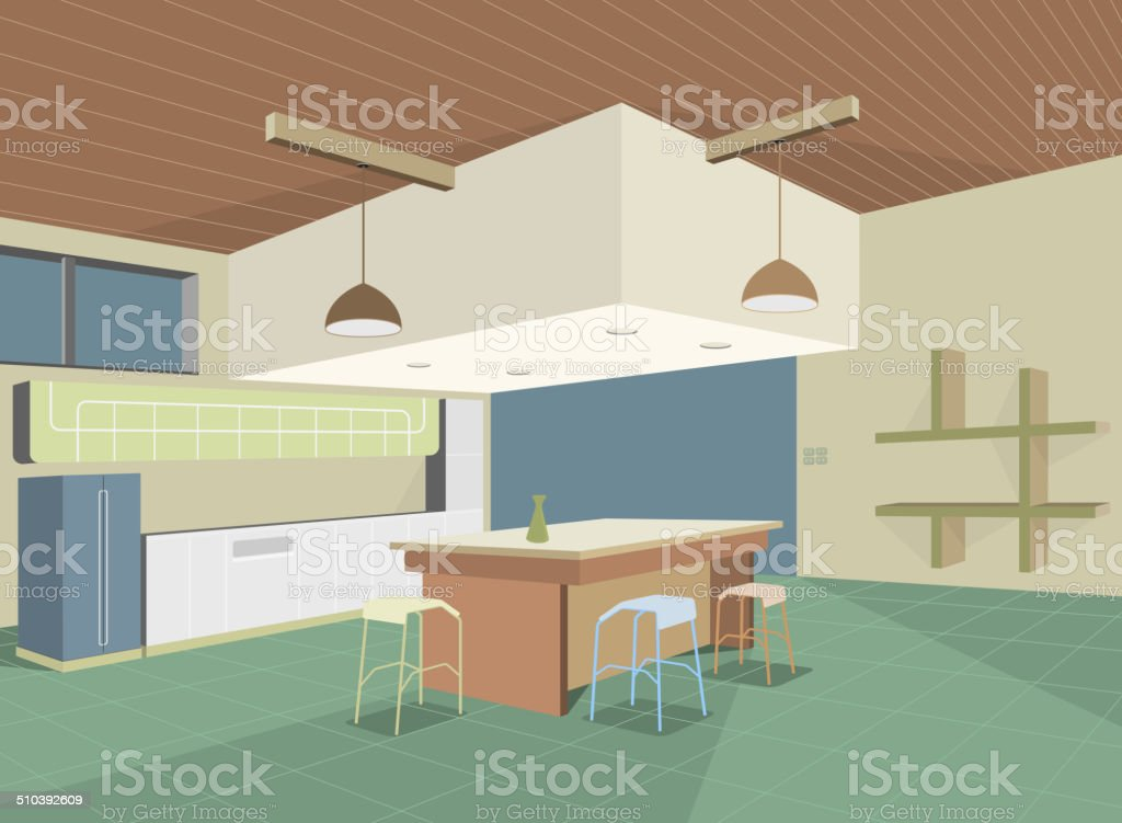 Colorful kitchen vector art illustration