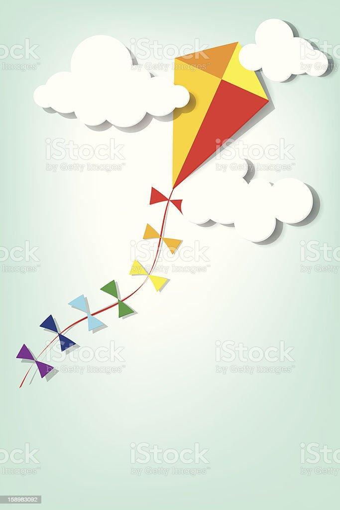 Coloré Cerf-volant dans les nuages stock vecteur libres de droits libre de droits
