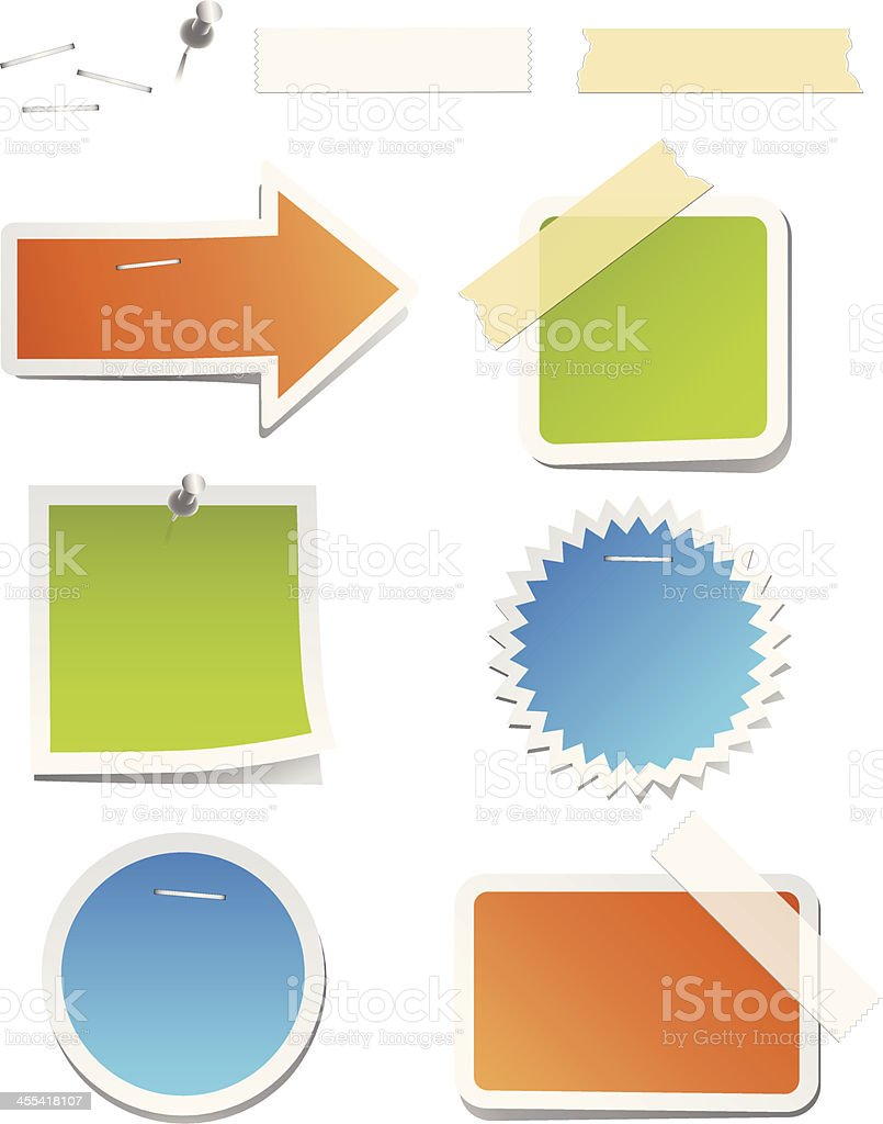 Colorful Labels with Staples and Tape royalty-free stock vector art