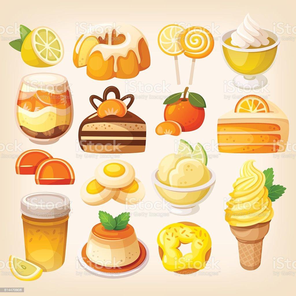 Colorful lemon and orange desserts vector art illustration