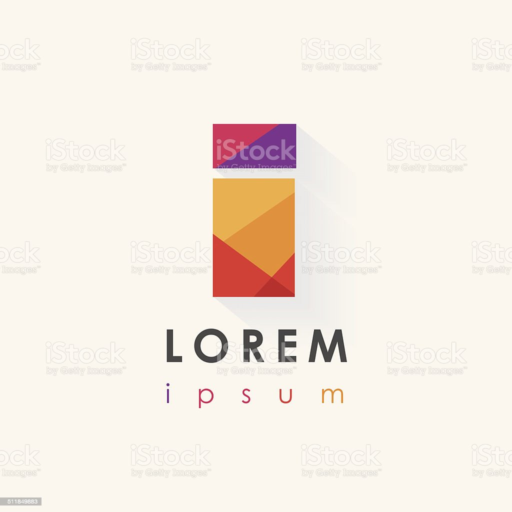 colorful letter i logo design isolated on white background vector art illustration