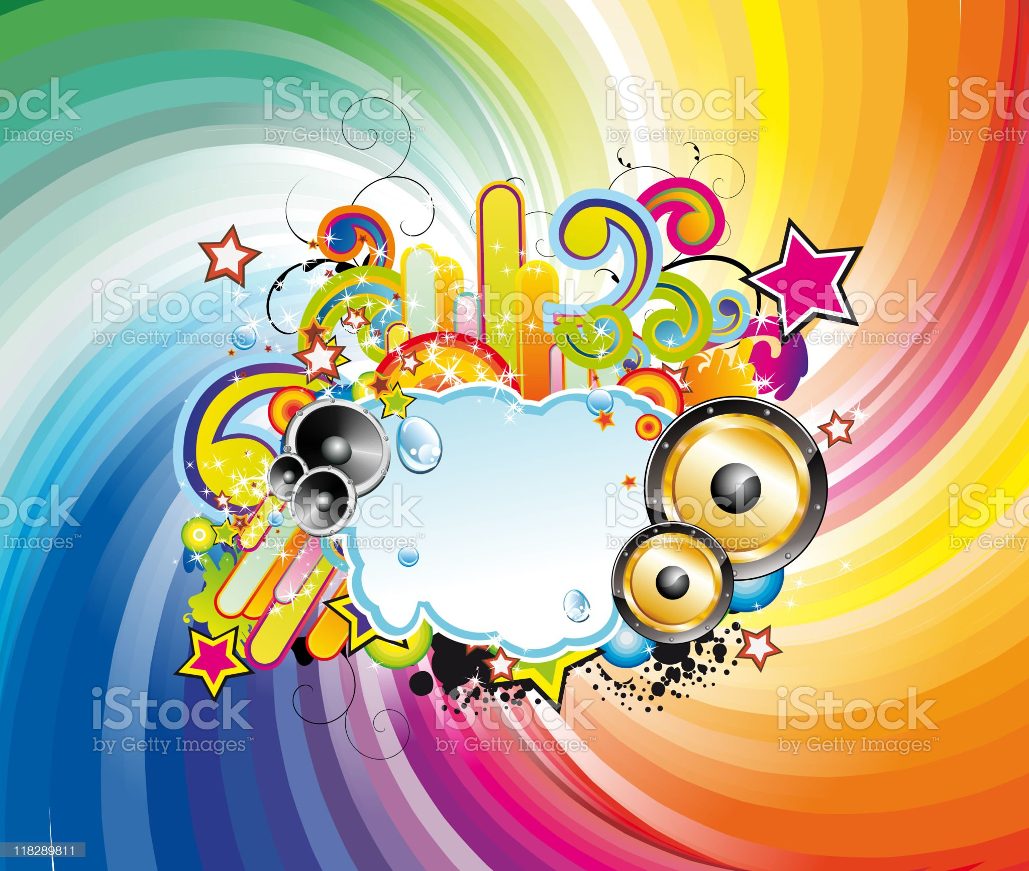 Colorful Lights and Music Background royalty-free stock vector art