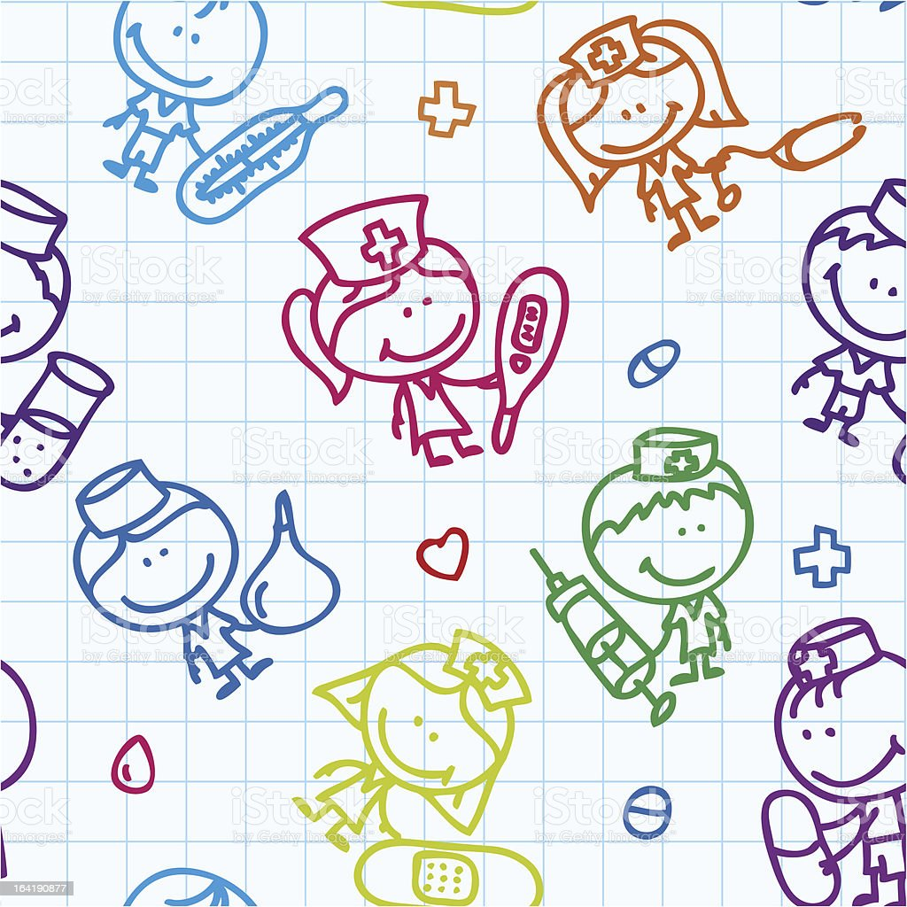 Colorful line drawings of child doctors and nurses on grid royalty-free stock vector art
