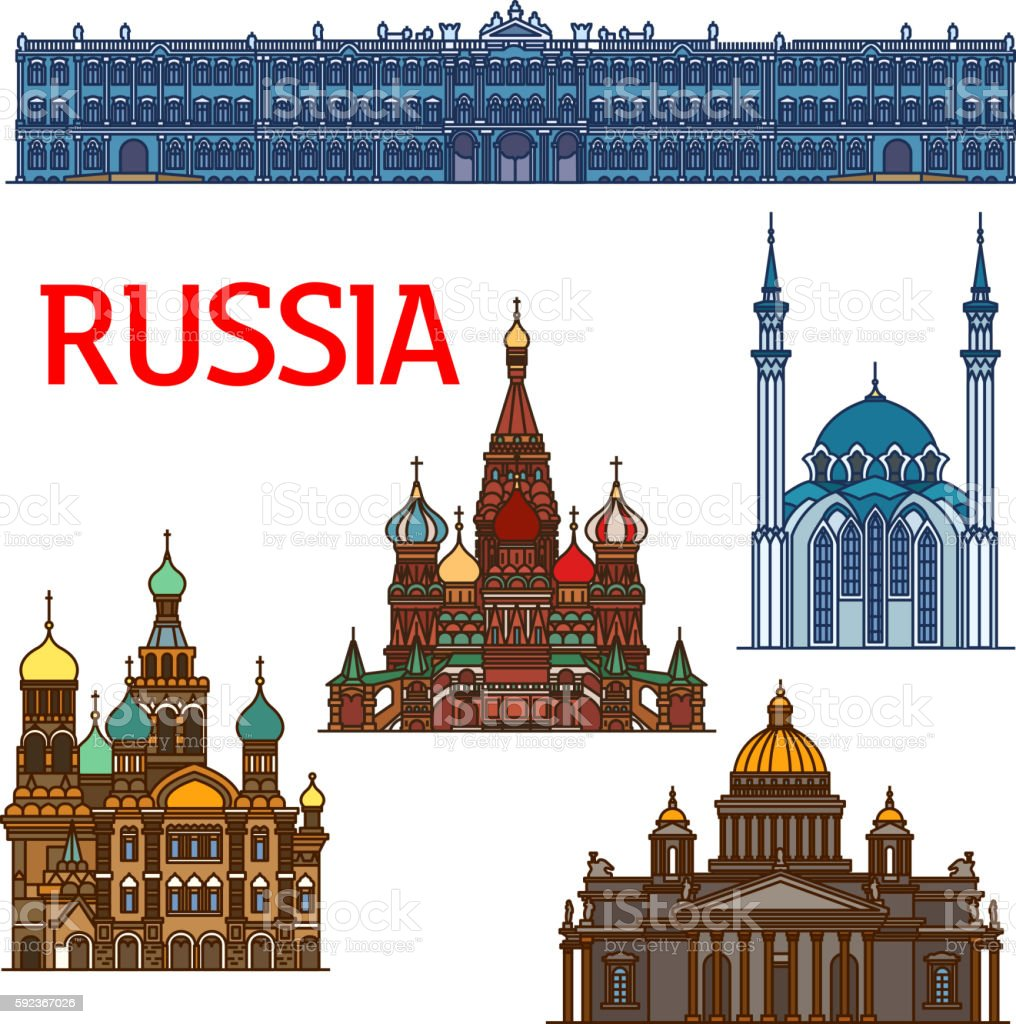 Colorful linear travel landmarks of Russia icon vector art illustration
