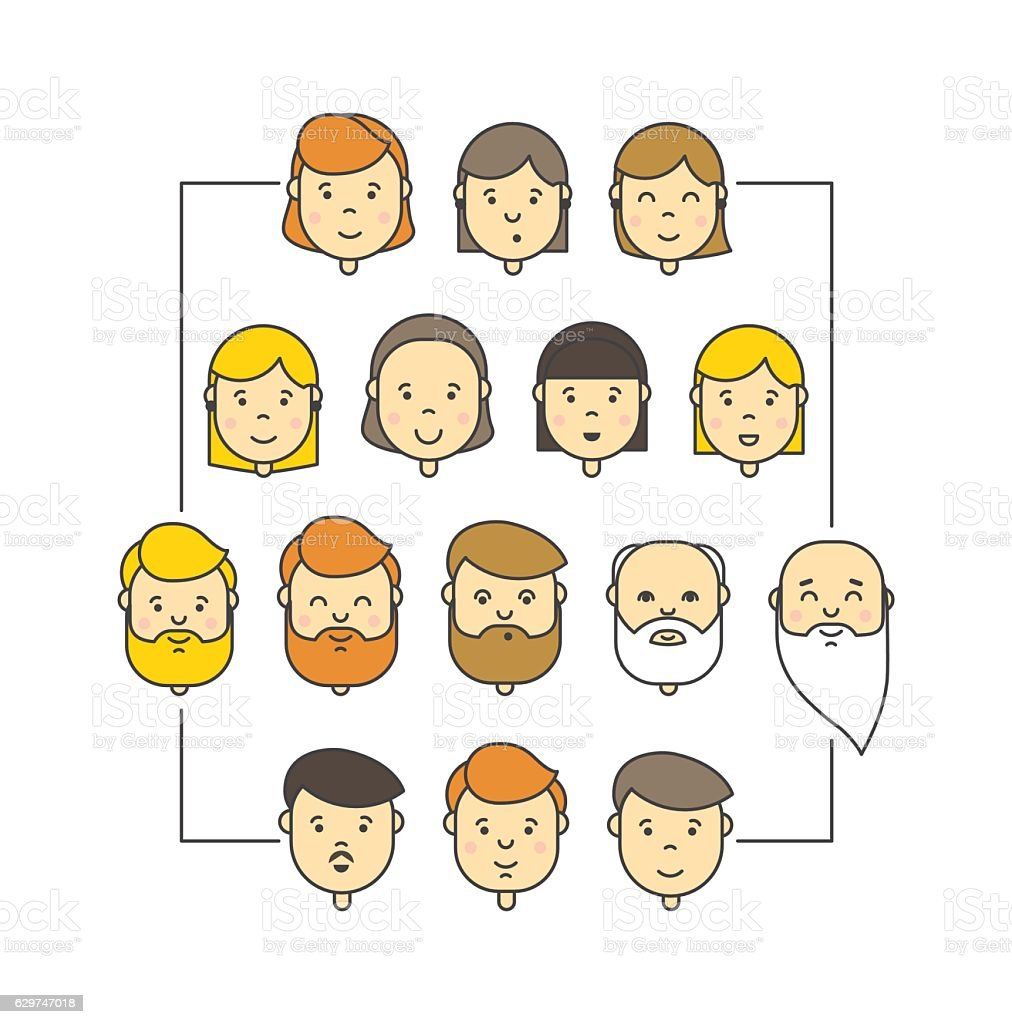 Colorful linear vector big icons collection of people vector art illustration