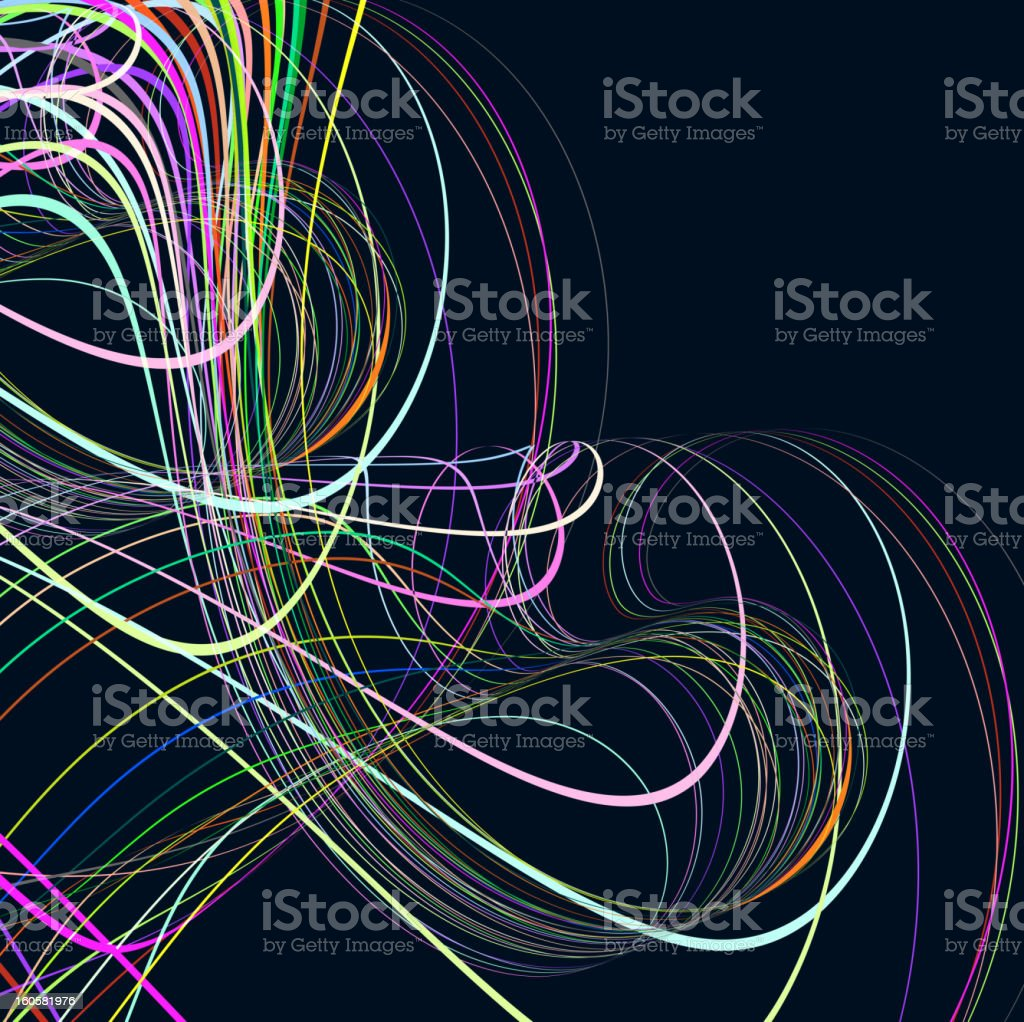 colorful lines with black background vector art illustration